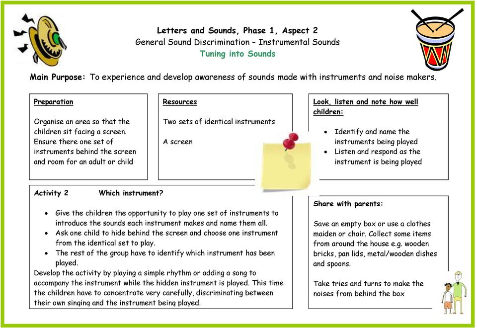 the instrument is being played Activity 2 Which instrument? Give the children the opportunity to play one set of instruments to introduce the sounds each instrument makes and name them all.