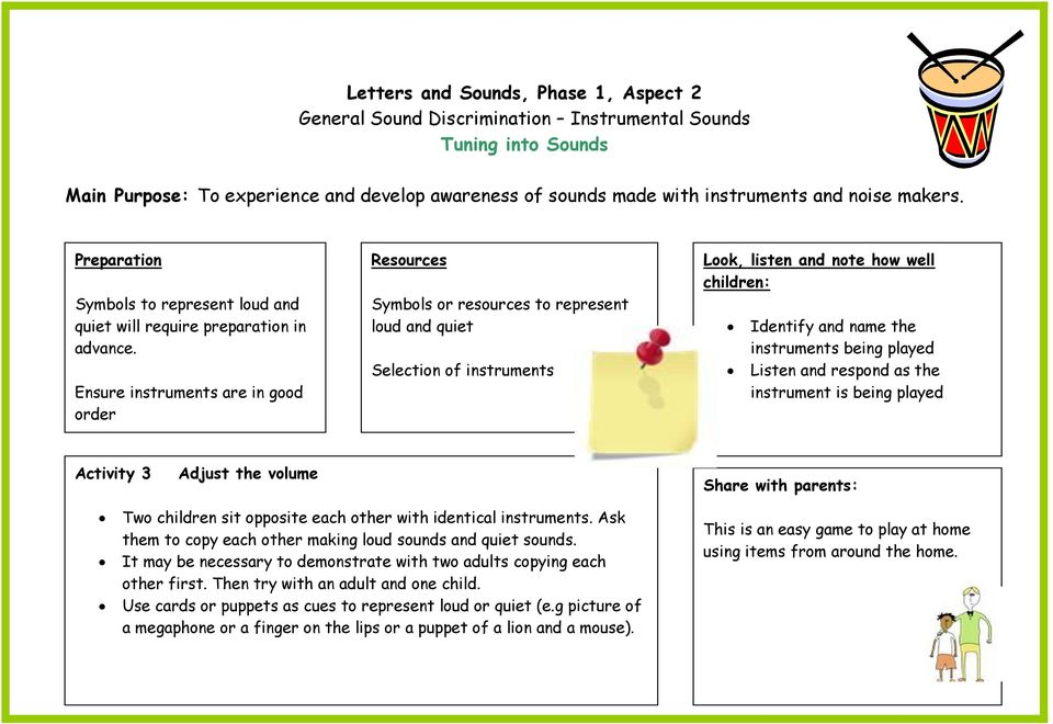 being played Activity 3 Adjust the volume Two children sit opposite each other with identical instruments. Ask them to copy each other making loud sounds and quiet sounds.