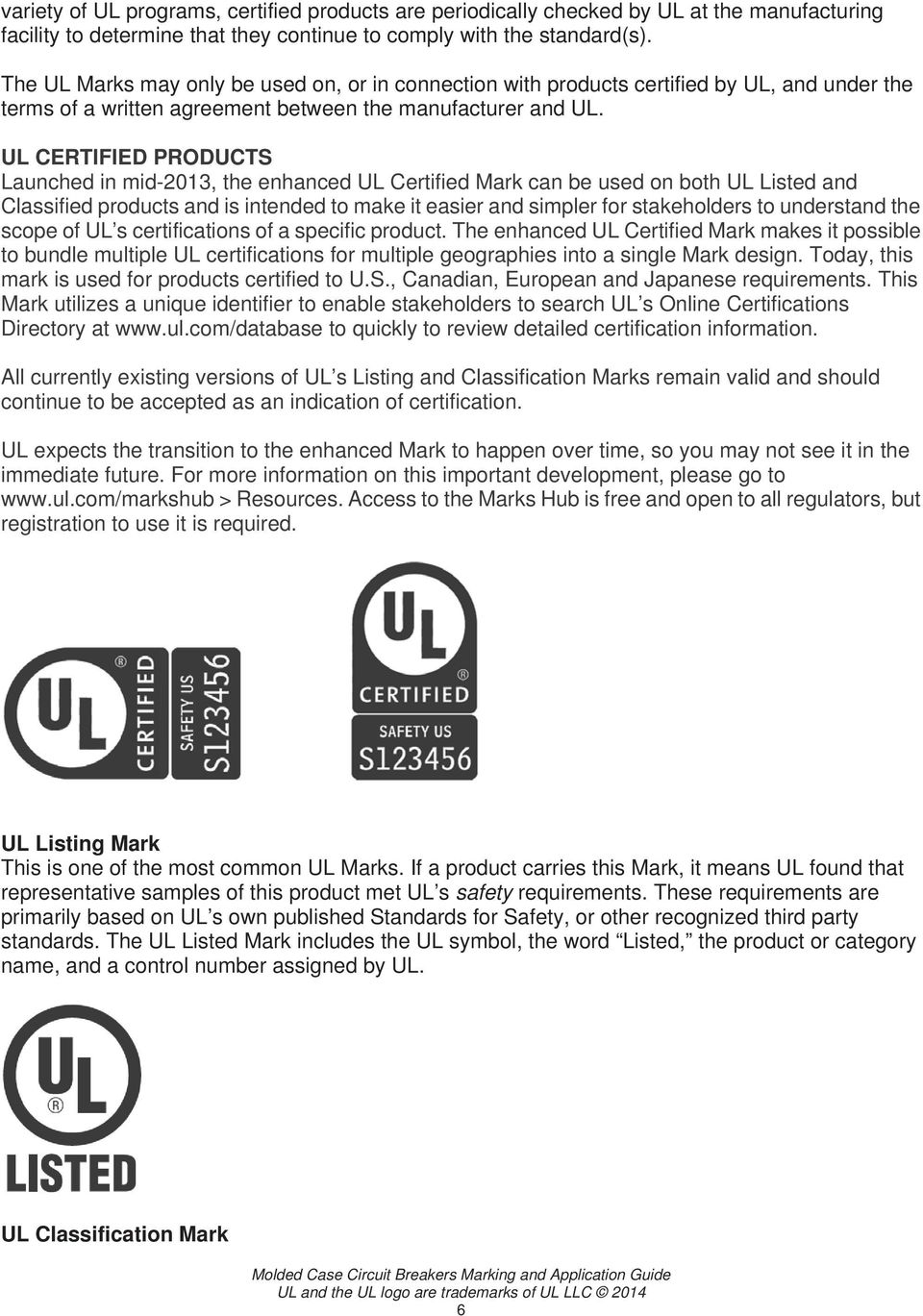 UL CERTIFIED PRODUCTS Launched in mid-2013, the enhanced UL Certified Mark can be used on both UL Listed and Classified products and is intended to make it easier and simpler for stakeholders to