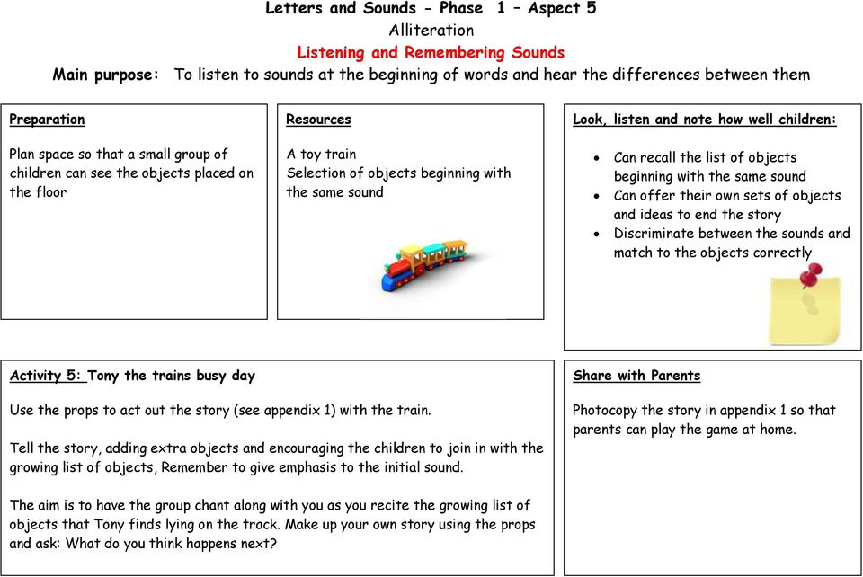 Letters and Sounds - Phase 1 Aspect 5 Alliteration Tuning