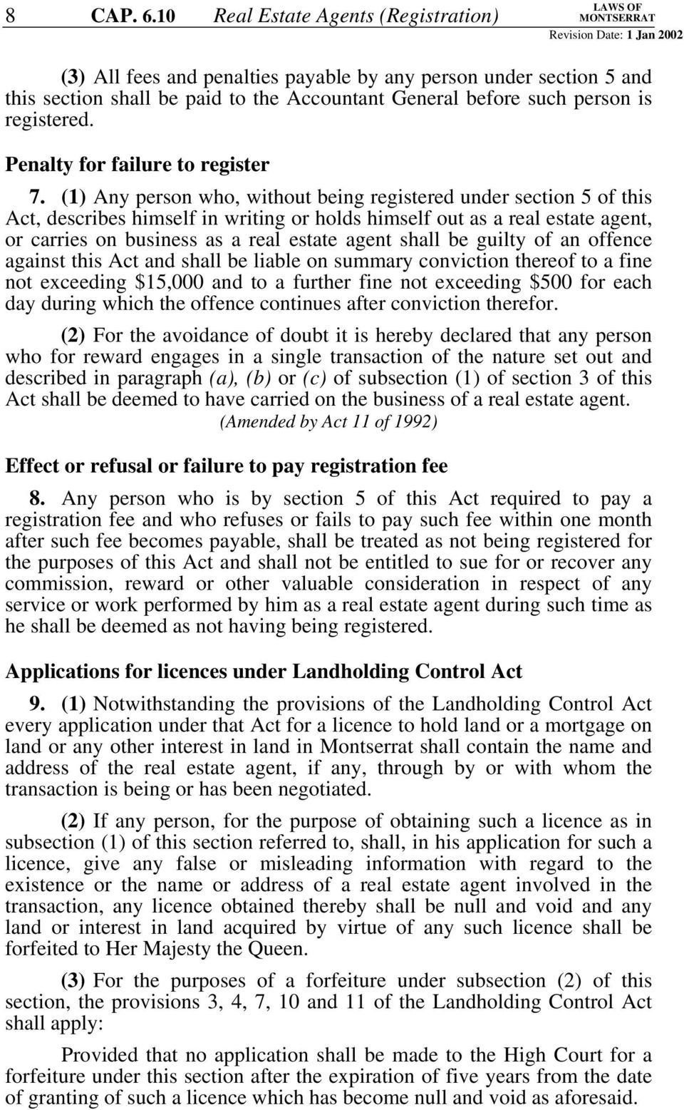 Penalty for failure to register 7.