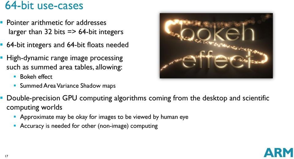 Variance Shadow maps Double-precision GPU computing algorithms coming from the desktop and scientific computing