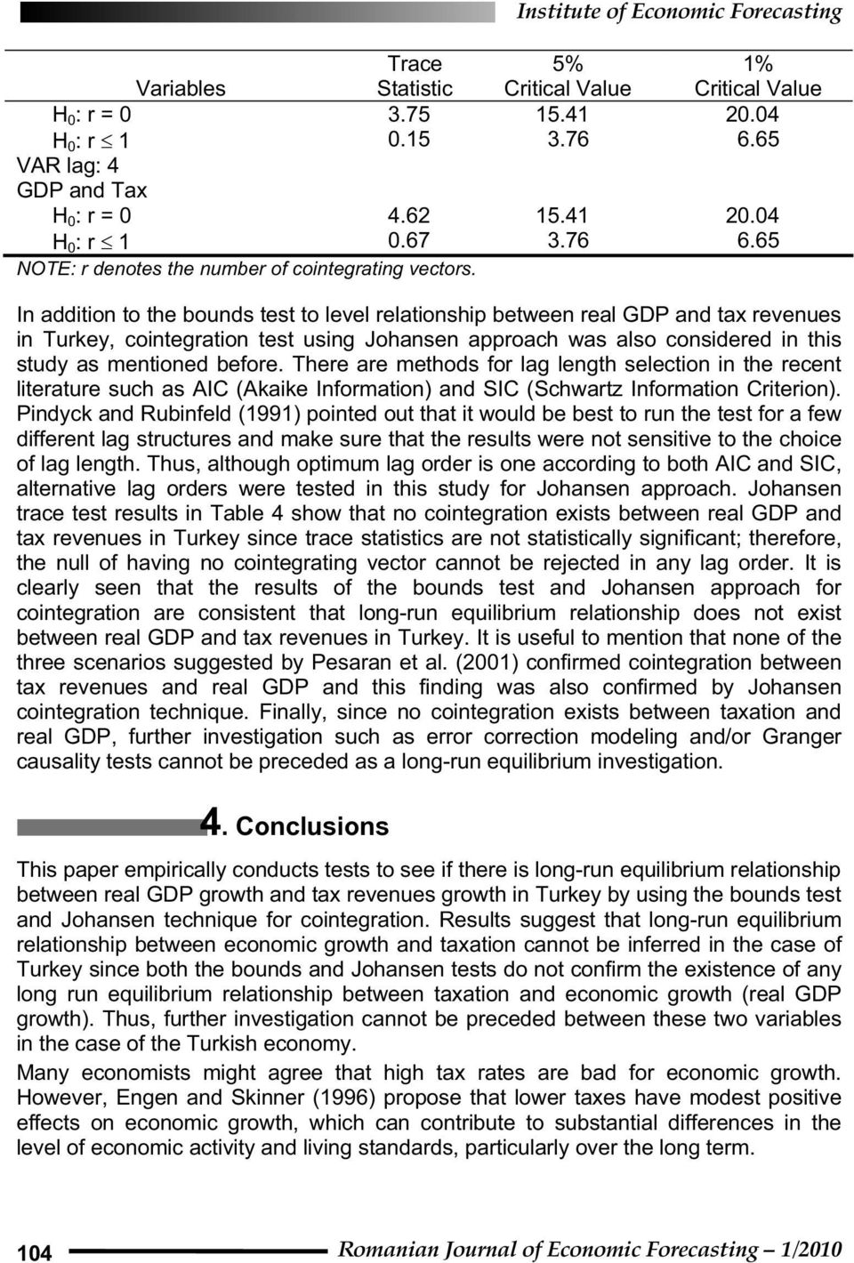 In addition to the bounds test to level relationship between real GDP and tax revenues in Turkey, cointegration test using Johansen approach was also considered in this study as mentioned before.