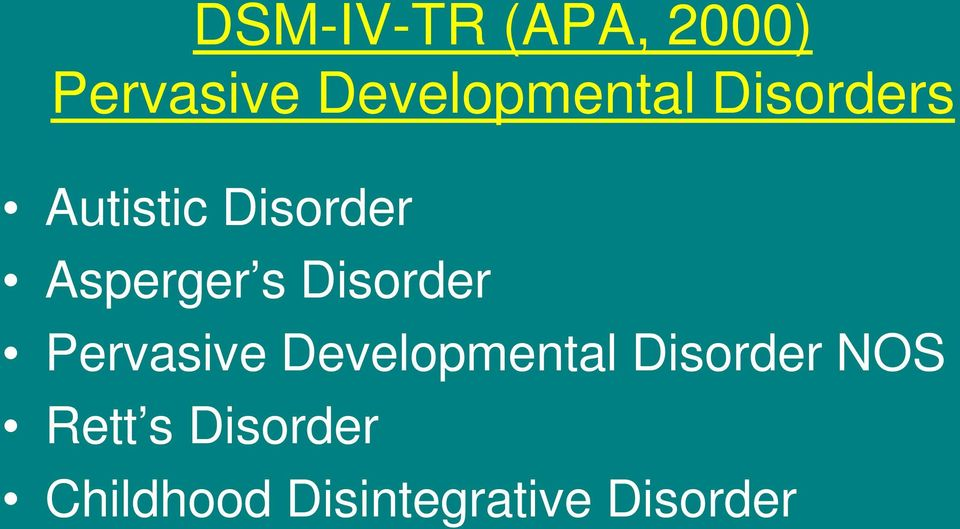 Asperger s Disorder Pervasive Developmental