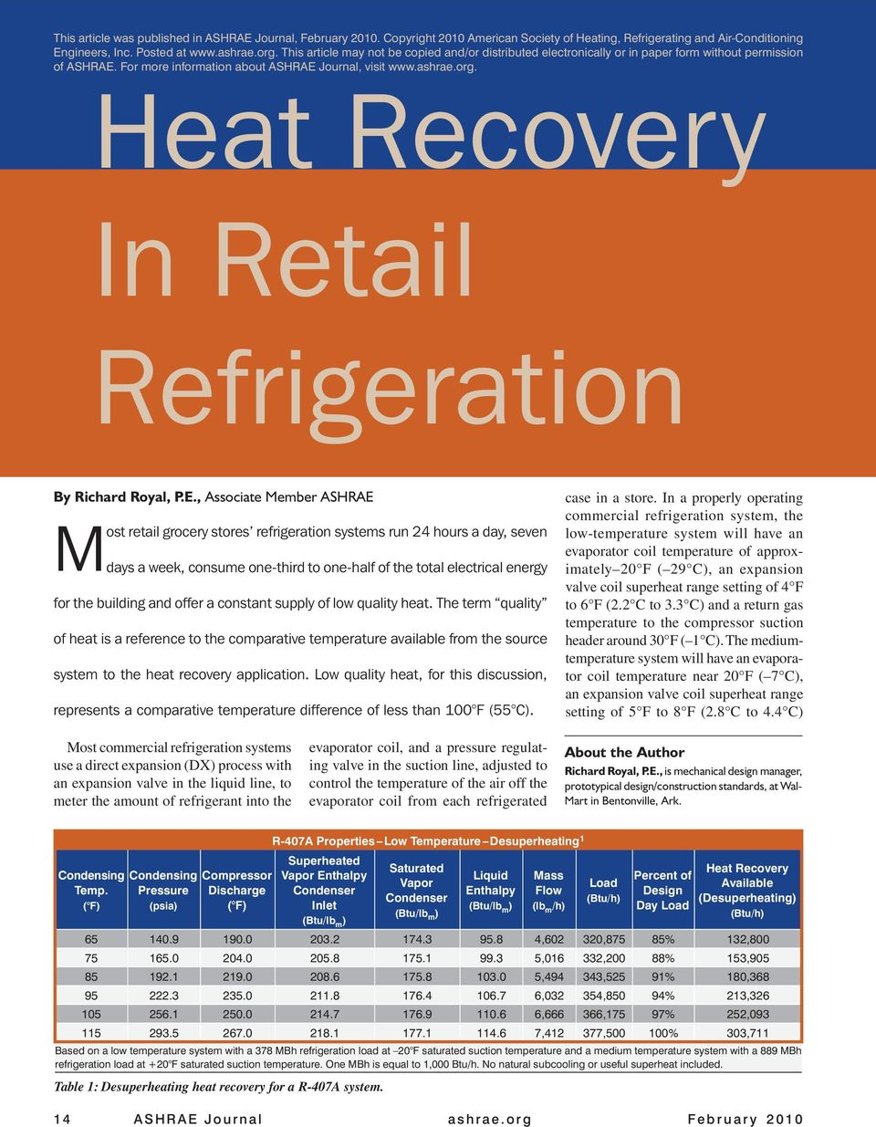 In Retail Refrigeration By Richard Royal, P.E.
