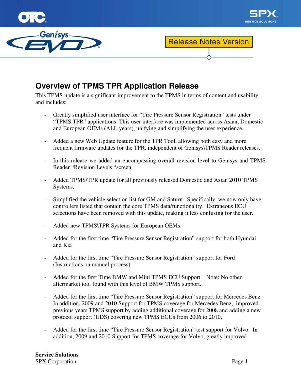 Overview of TPMS TPR Application Release - PDF