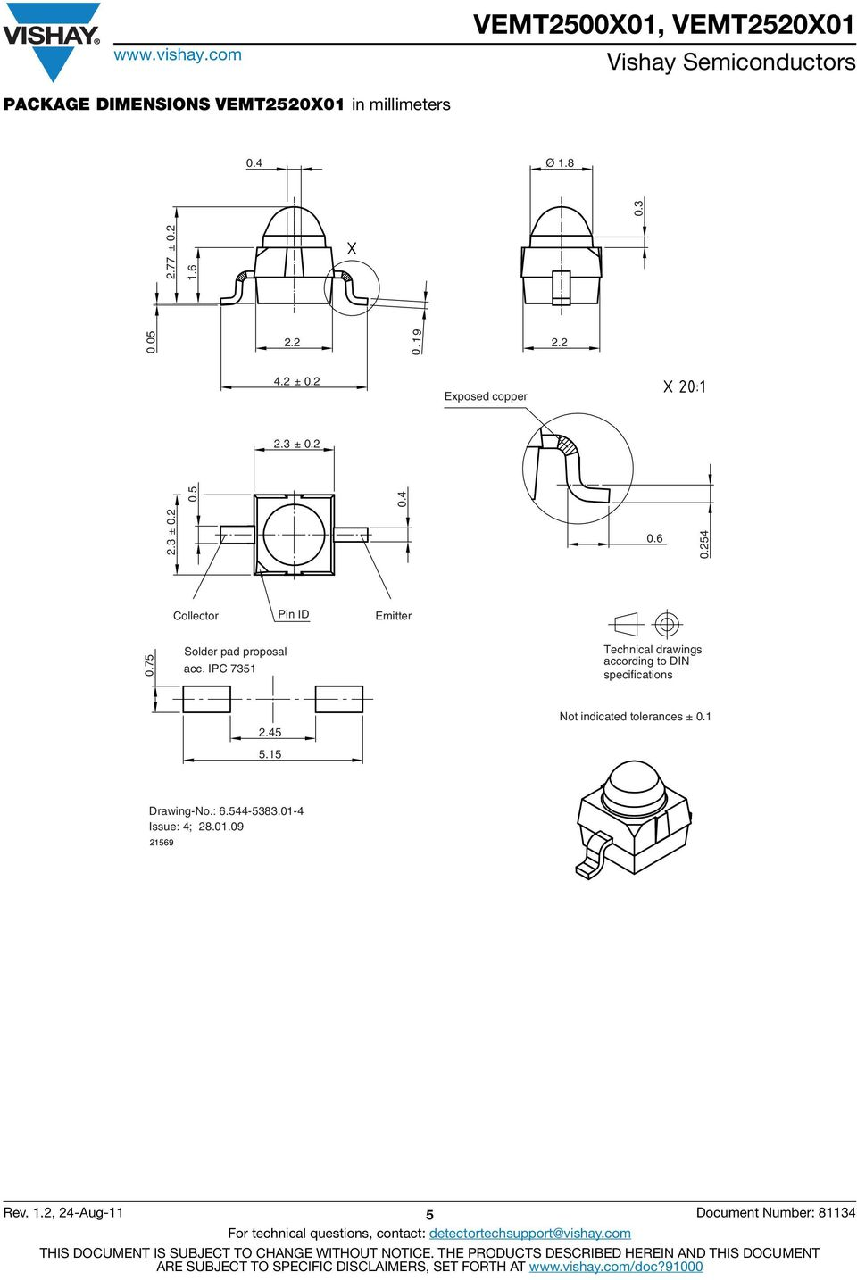 IPC 7351 Technical drawings according to DIN specifications 2.45 5.