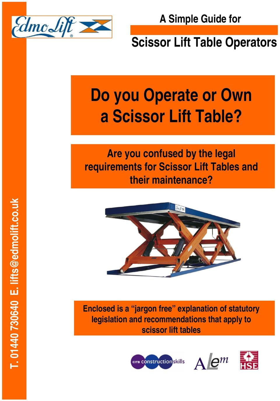 Are you confused by the legal requirements for Scissor Lift Tables and their