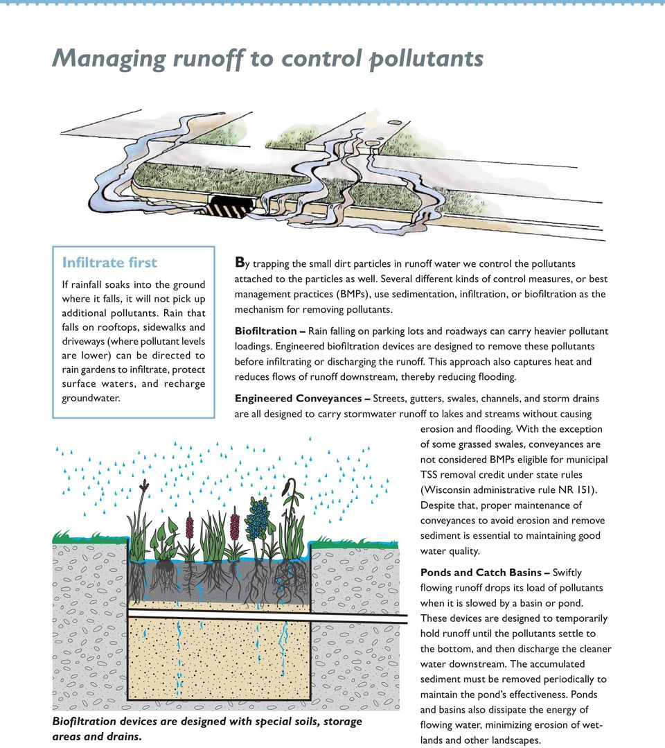 By trapping the small dirt particles in runoff water we control the pollutants attached to the particles as well.