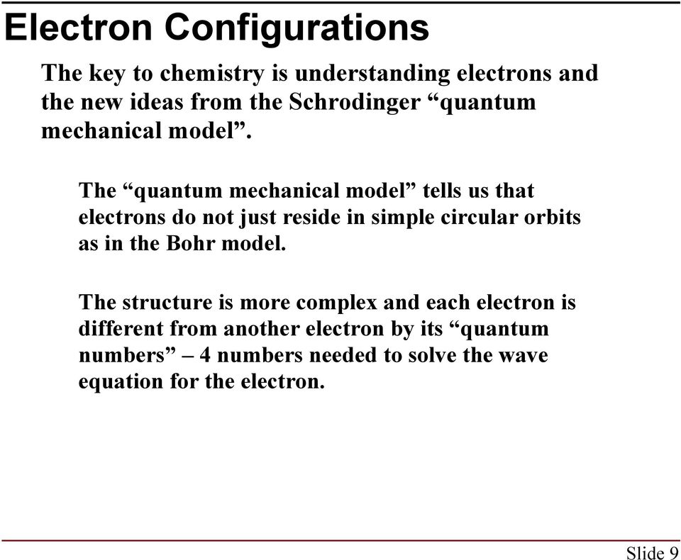 The quantum mechanical model tells us that electrons do not just reside in simple circular orbits as in the