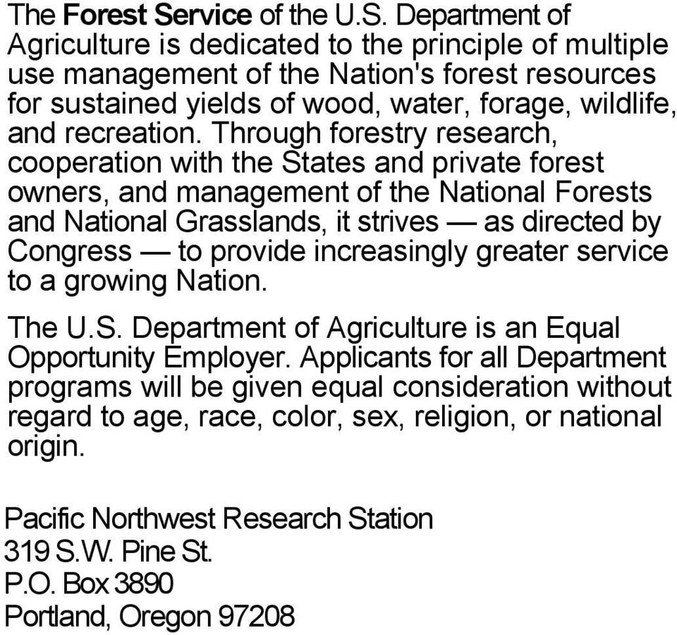 usda forest service pacific northwest research station research paper United states department of agriculture forest service pacific northwest research station general technical report pnw-gtr-430 october 1998 the starkey habitat.