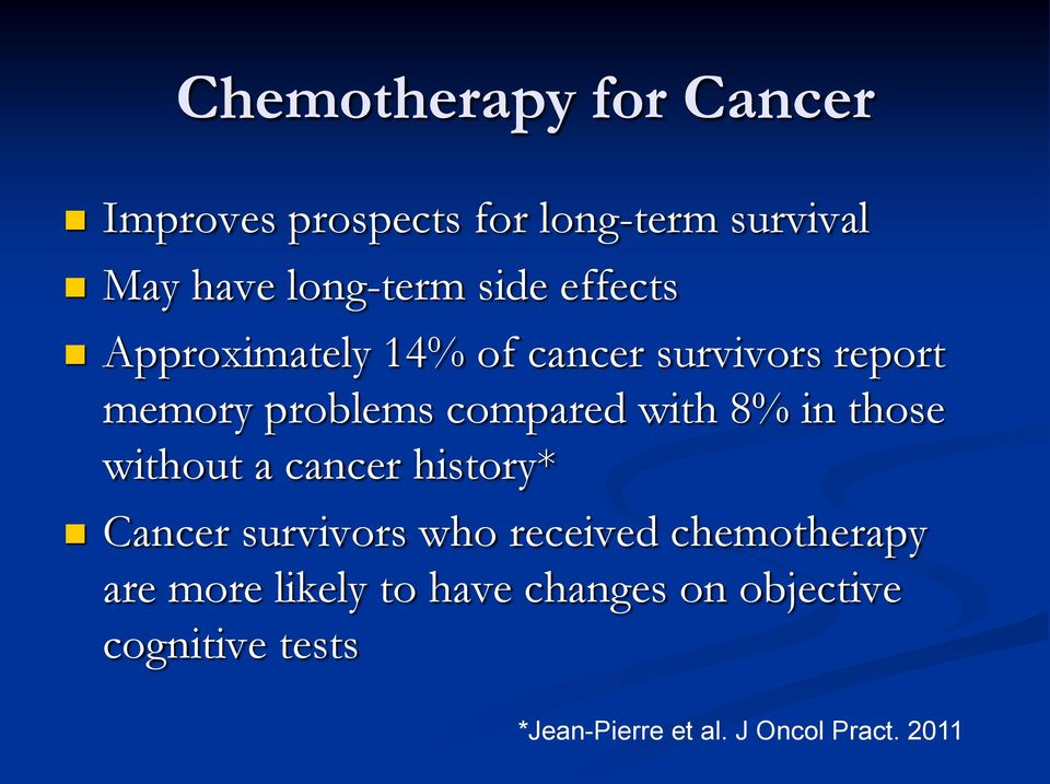8% in those without a cancer history* Cancer survivors who received chemotherapy are