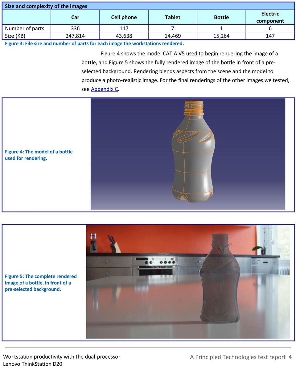 Figure 4 shows the model CATIA V5 used to begin rendering the image of a bottle, and Figure 5 shows the fully rendered image of the bottle in front of a preselected background.