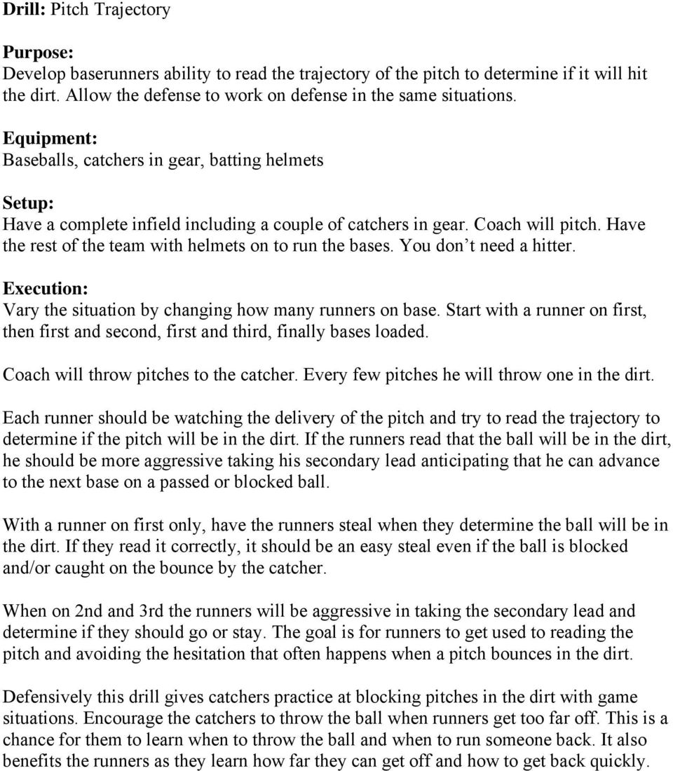 Have the rest of the team with helmets on to run the bases. You don t need a hitter. Execution: Vary the situation by changing how many runners on base.