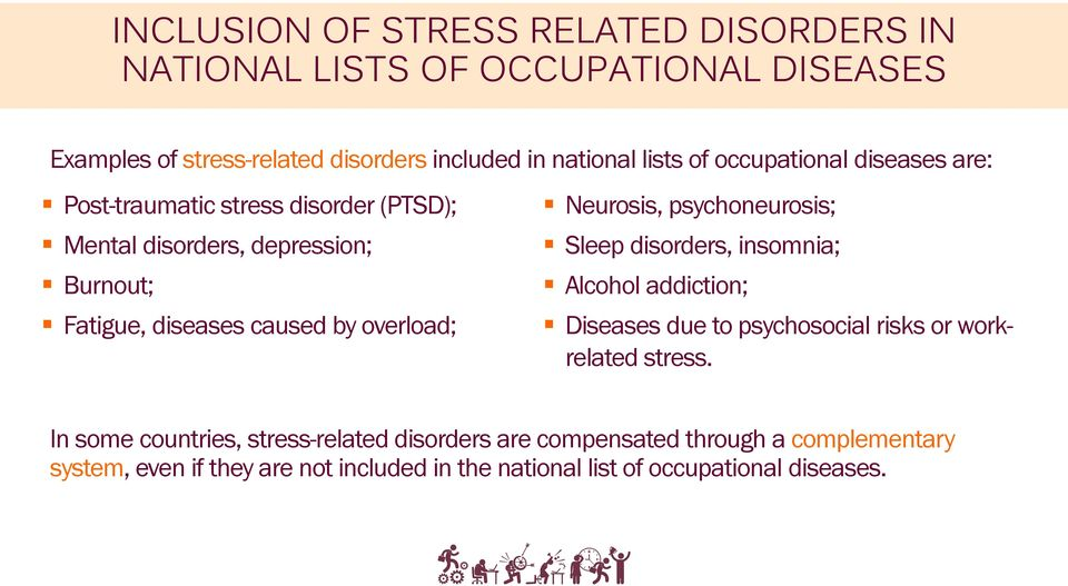 Neurosis, psychoneurosis; Sleep disorders, insomnia; Alcohol addiction; Diseases due to psychosocial risks or workrelated stress.