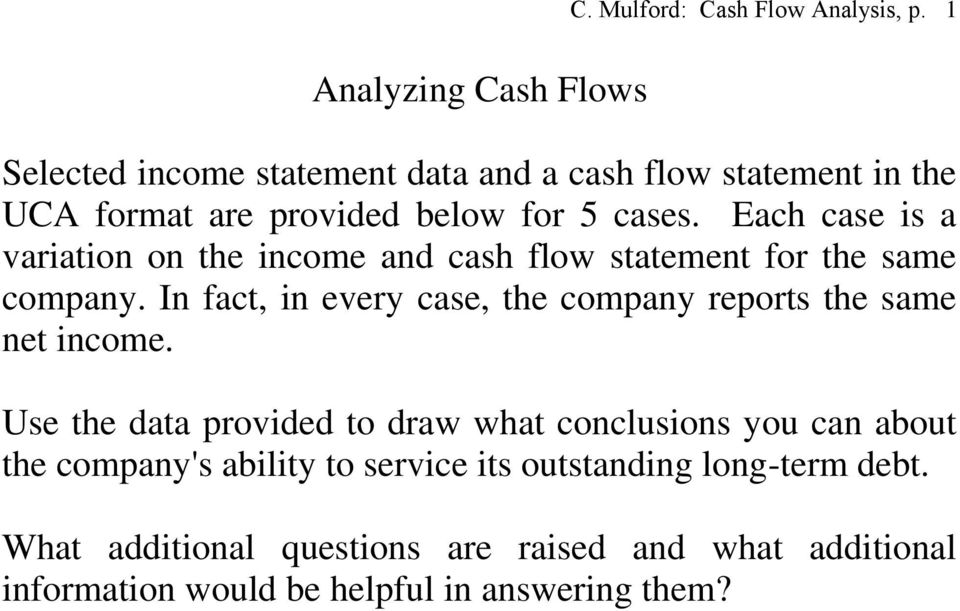 Each case is a variation on the income and cash flow statement for the same company.