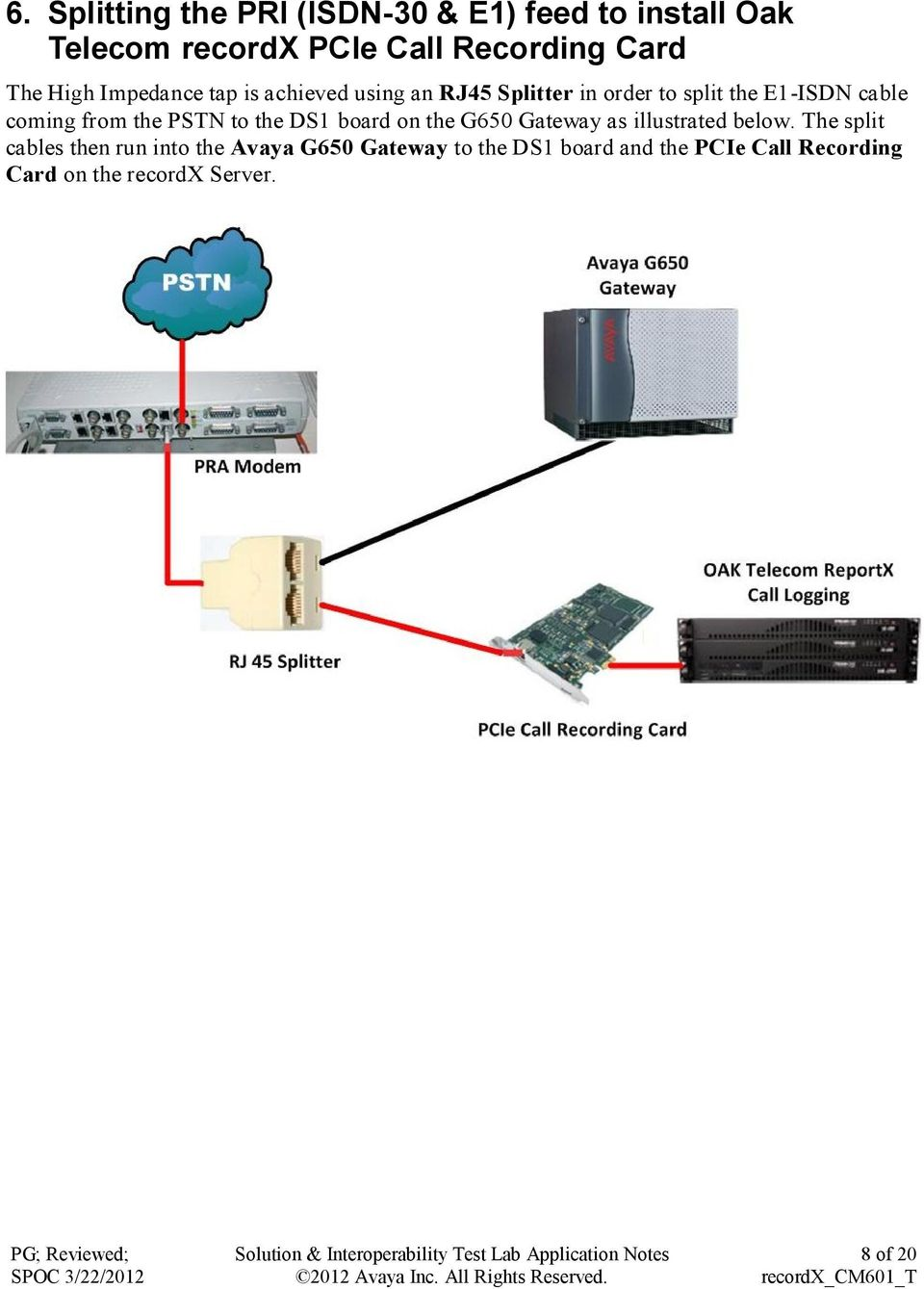 the PSTN to the DS1 board on the G650 Gateway as illustrated below.