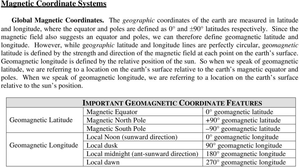 Since the magnetic field also suggests an equator and poles, we can therefore define geomagnetic latitude and longitude.