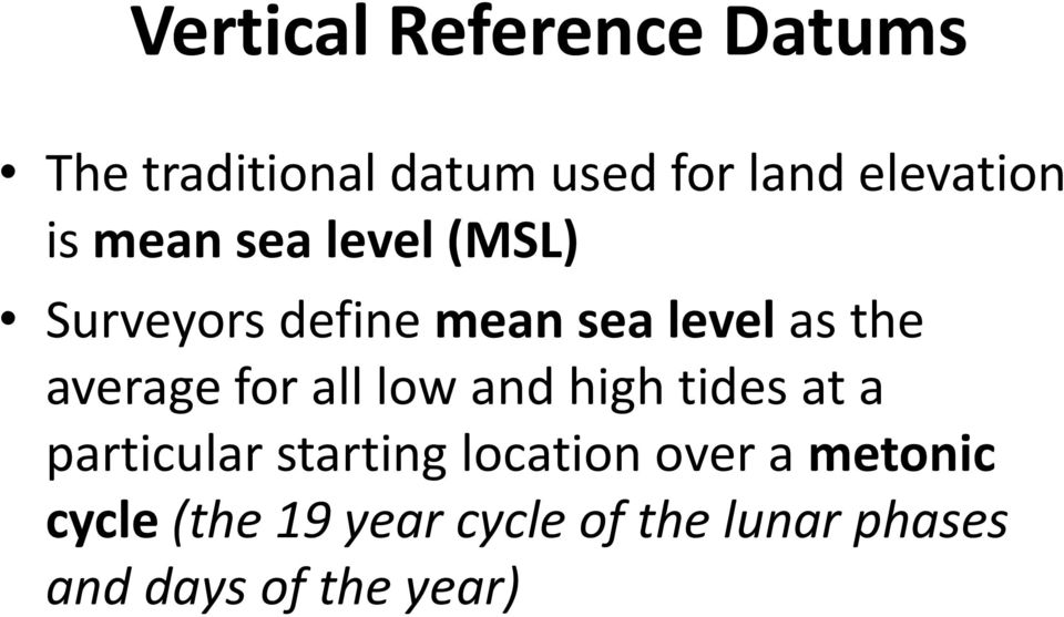 for all low and high tides at a particular starting location over a