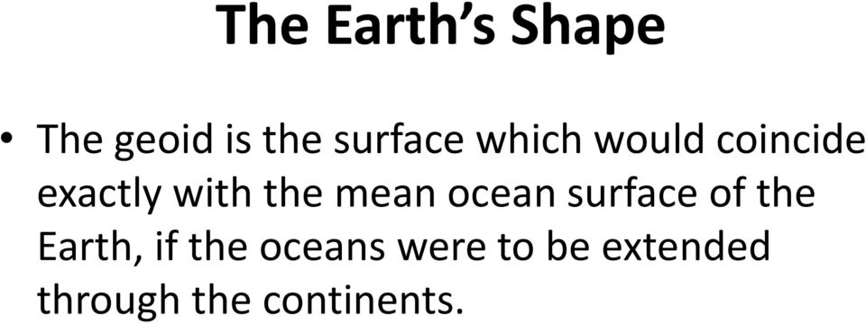 ocean surface of the Earth, if the oceans