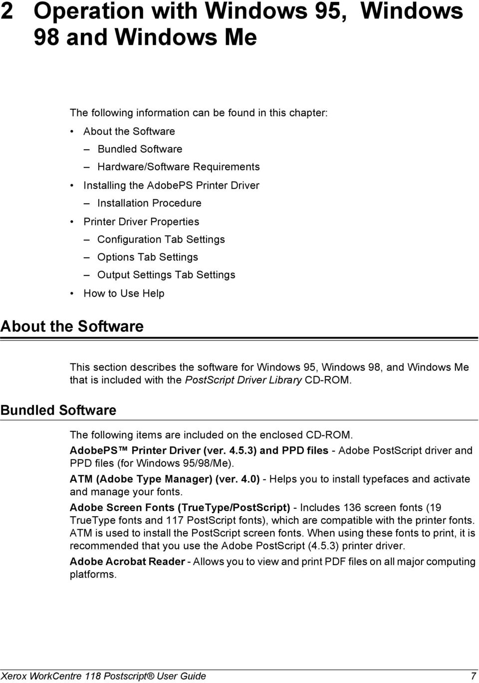 describes the software for Windows 95, Windows 98, and Windows Me that is included with the PostScript Driver Library CD-ROM. Bundled Software The following items are included on the enclosed CD-ROM.