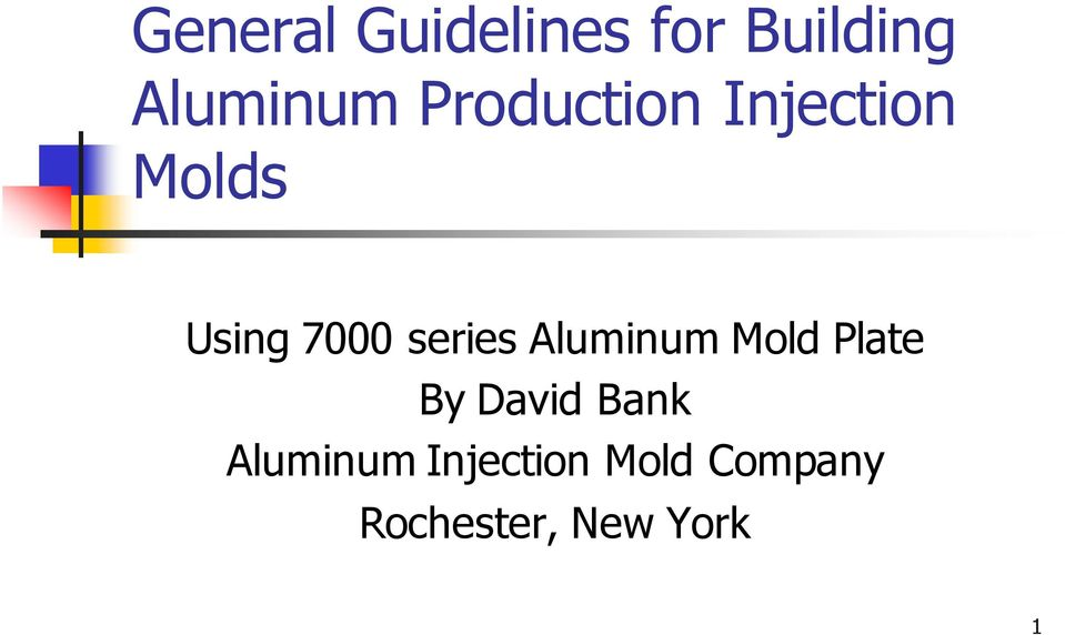 series Aluminum Mold Plate By David Bank