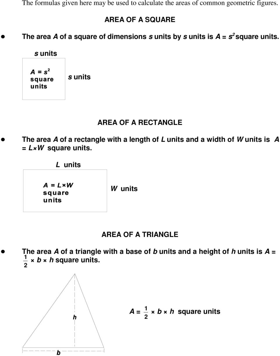 s units s units AREA OF A RECTANGLE The area A of a rectangle with a length of L units and a width of W units is A = L