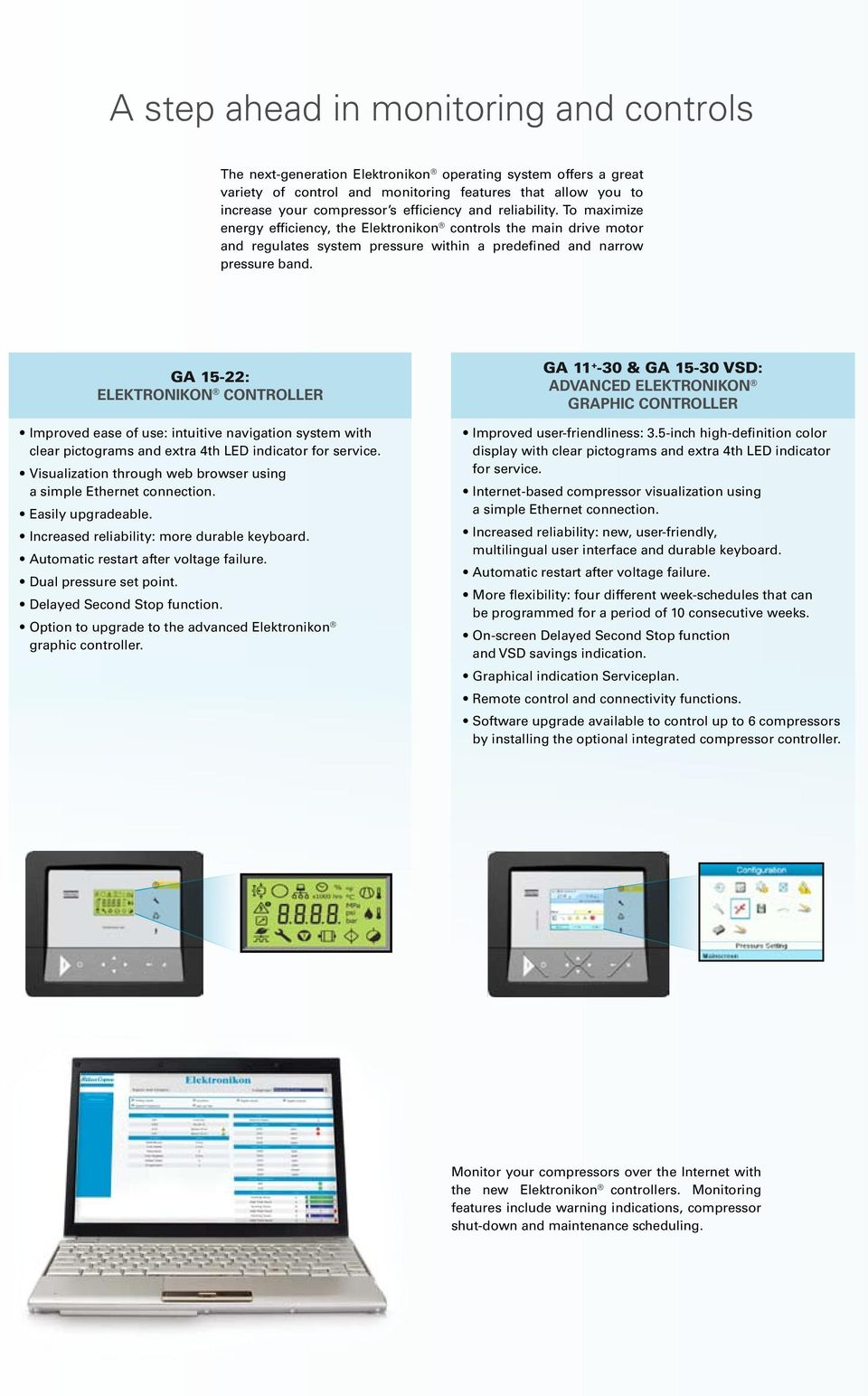GA 15-22: Elektronikon controller Improved ease of use: intuitive navigation system with clear pictograms and extra 4th LED indicator for service.