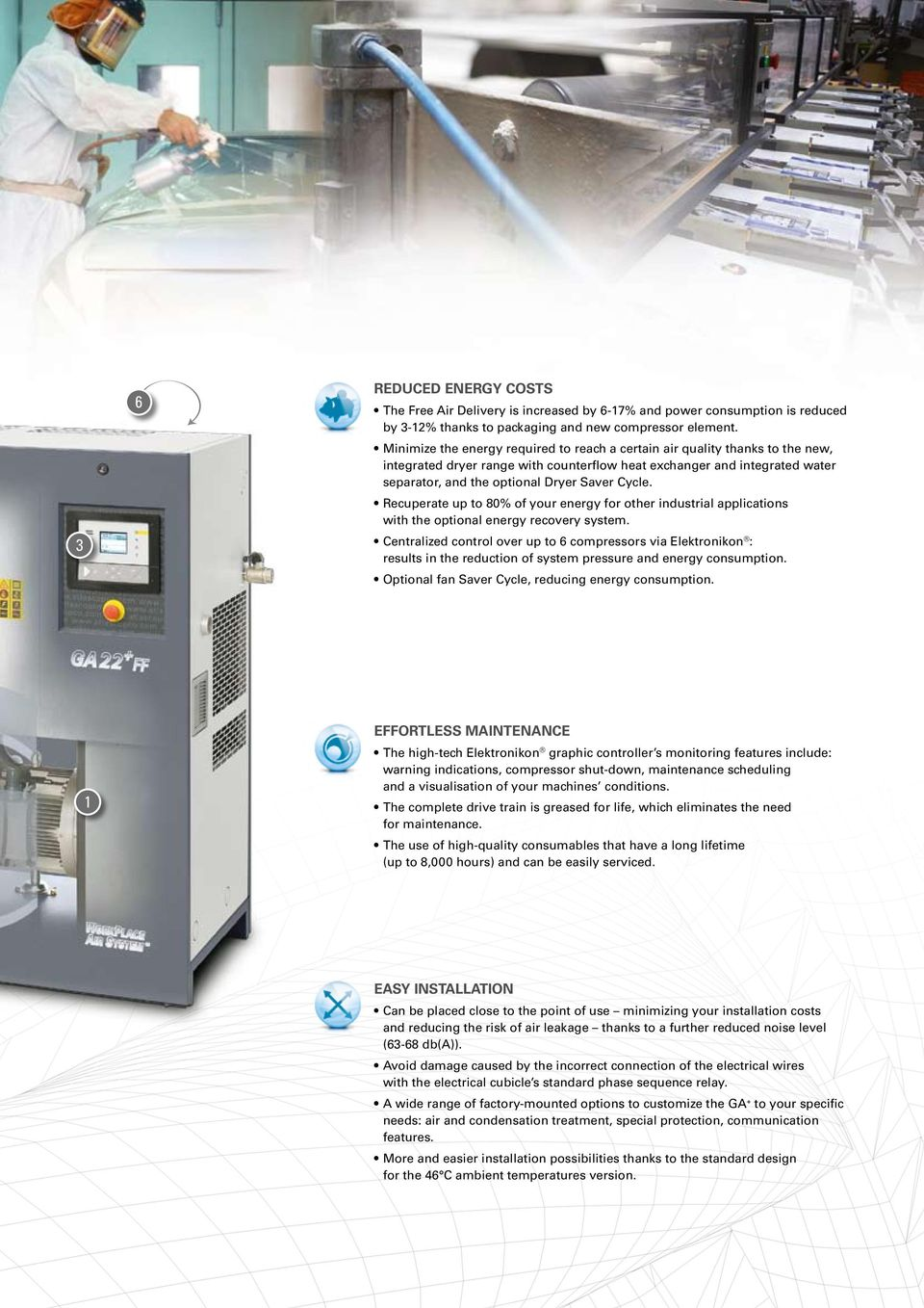 Cycle. Recuperate up to 80% of your energy for other industrial applications with the optional energy recovery system.