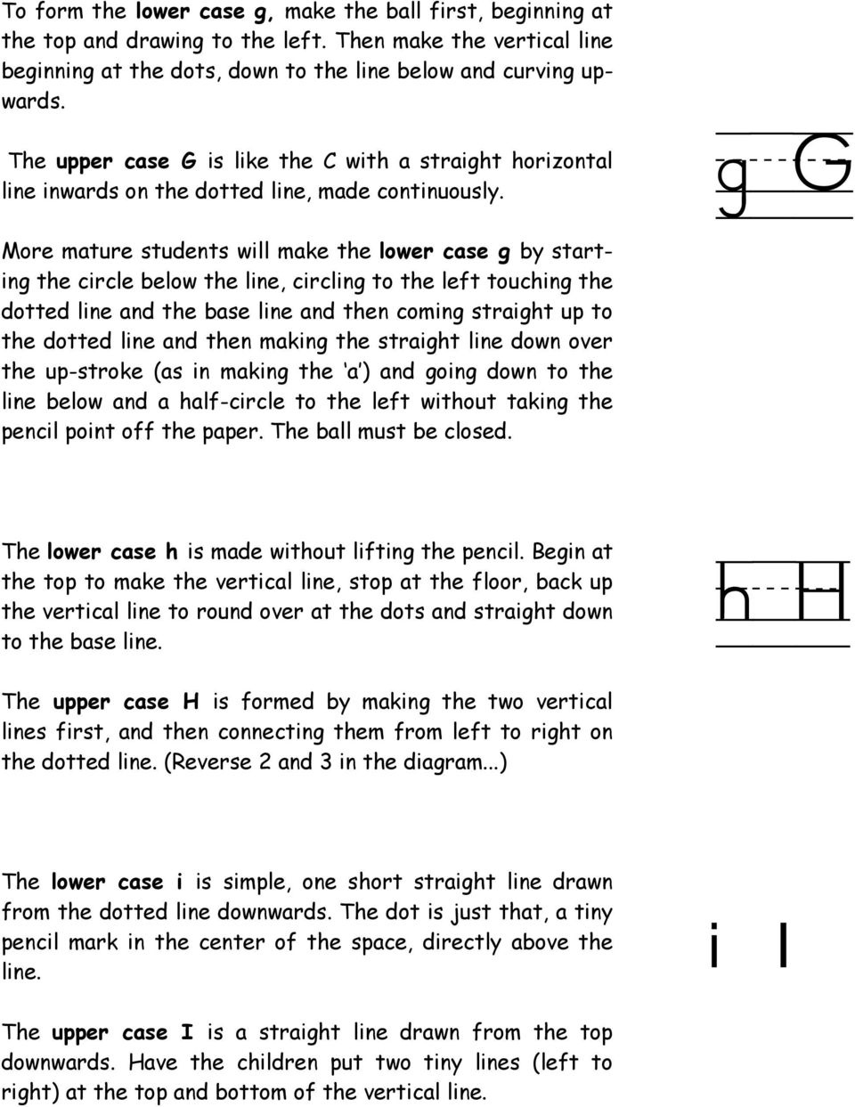 g/g More mature students will make the lower case g by starting the circle below the line, circling to the left touching the dotted line and the base line and then coming straight up to the dotted