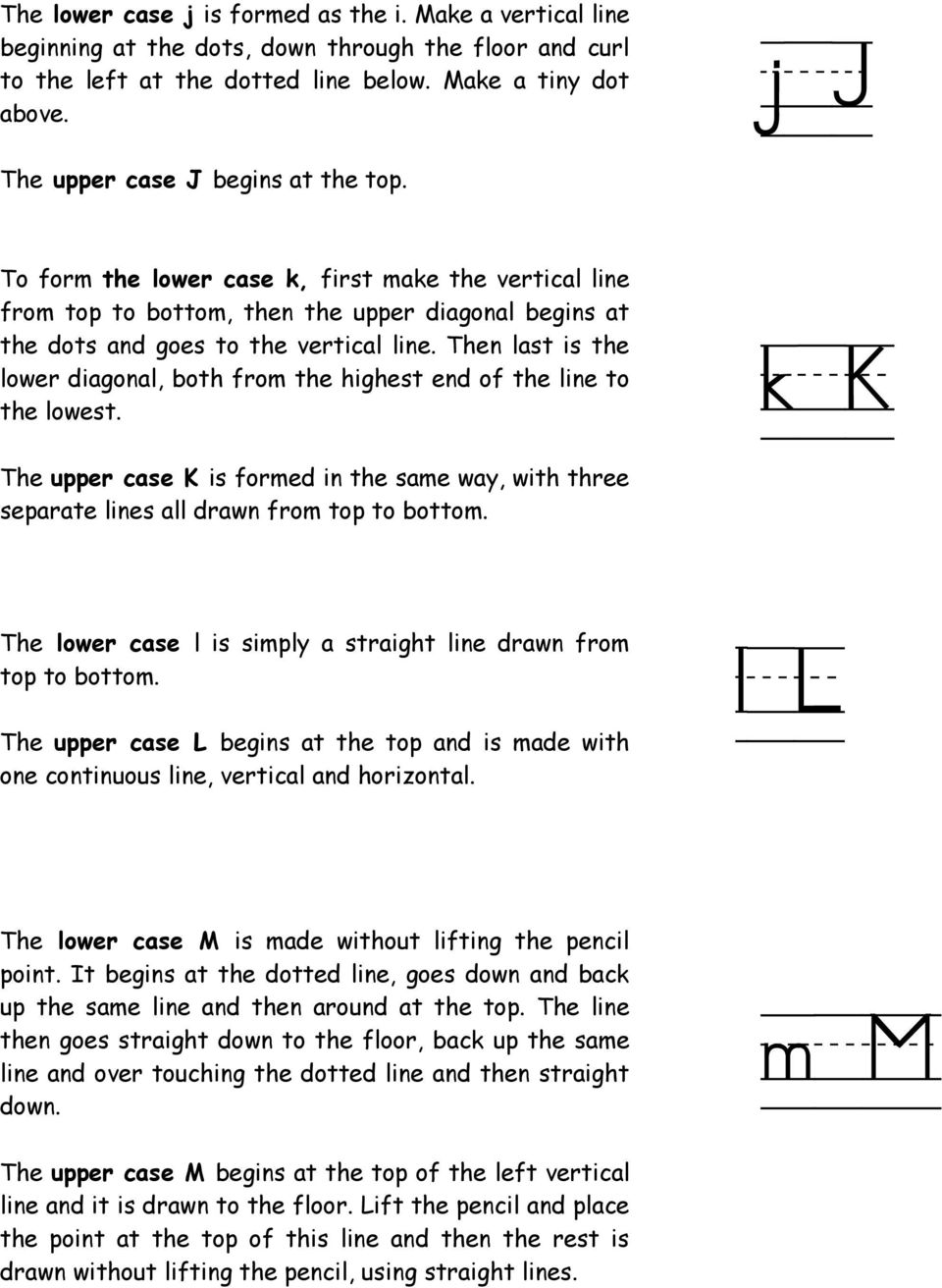 Then last is the lower diagonal, both from the highest end of the line to the lowest. k/k The upper case K is formed in the same way, with three separate lines all drawn from top to bottom.