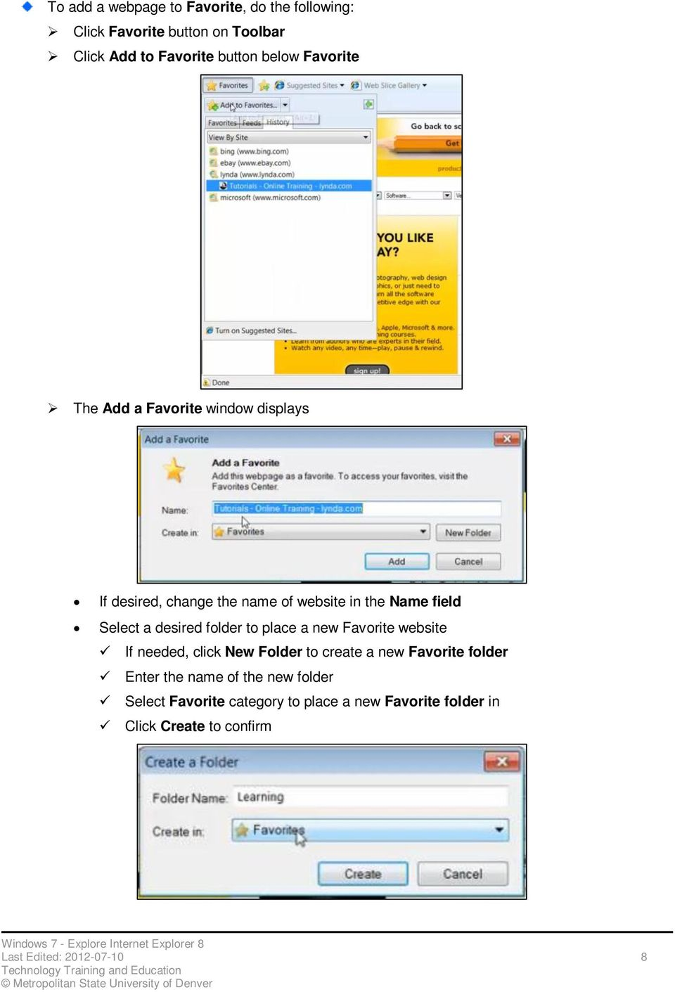 folder to place a new Favorite website If needed, click New Folder to create a new Favorite folder Enter the name of
