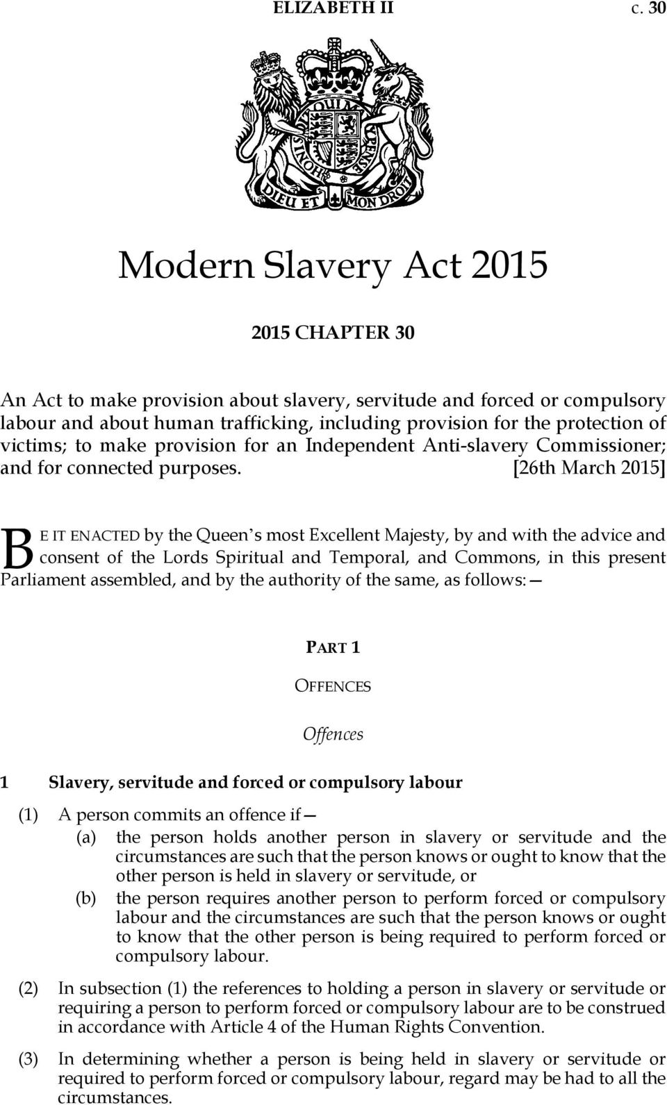 victims; to make provision for an Independent Anti-slavery Commissioner; and for connected purposes.