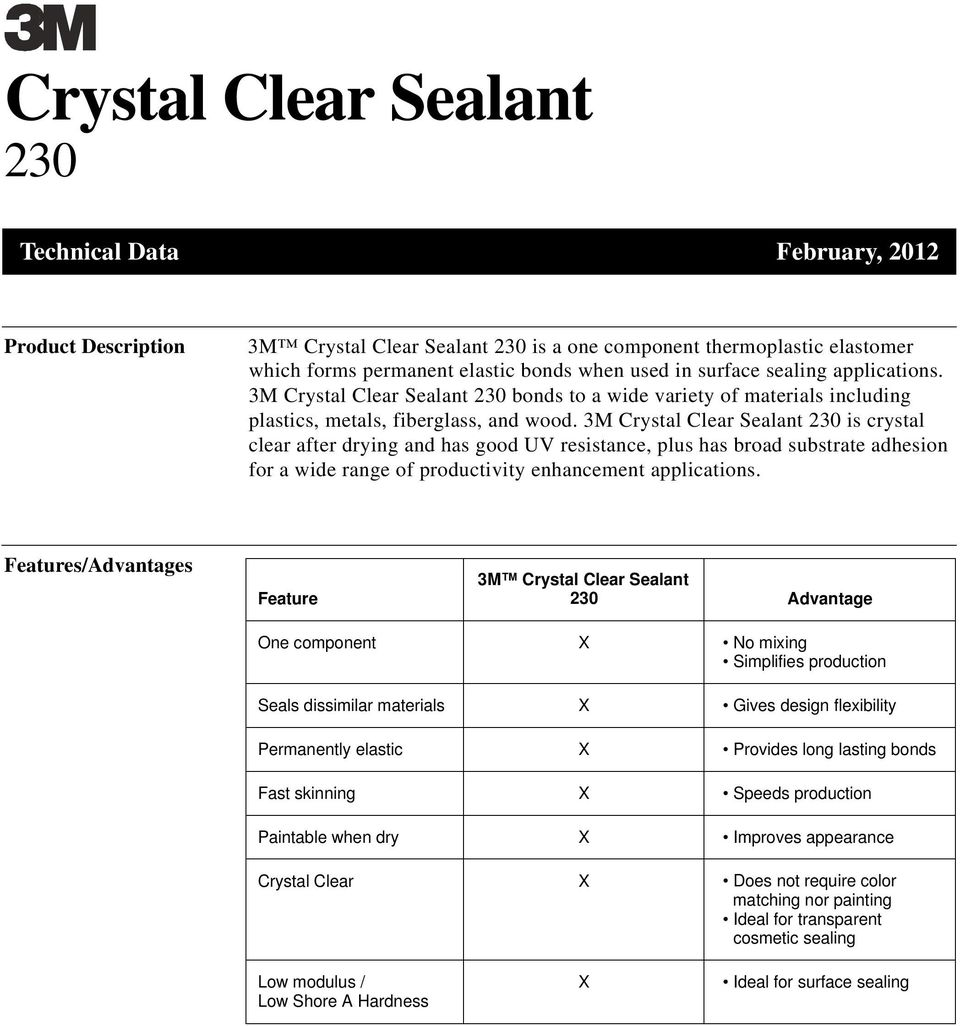 3M Crystal Clear Sealant is crystal clear after drying and has good UV resistance, plus has broad substrate adhesion for a wide range of productivity enhancement applications.