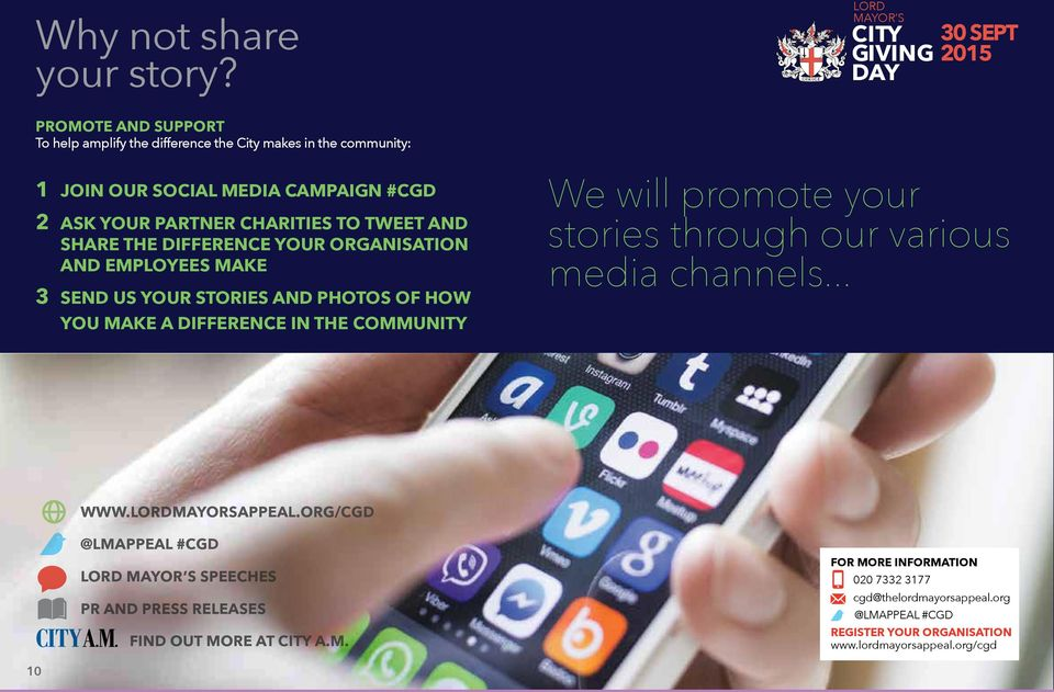#CGD 2 ASK YOUR PARTNER CHARITIES TO TWEET AND SHARE THE DIFFERENCE YOUR ORGANISATION AND EMPLOYEES MAKE 3 SEND US