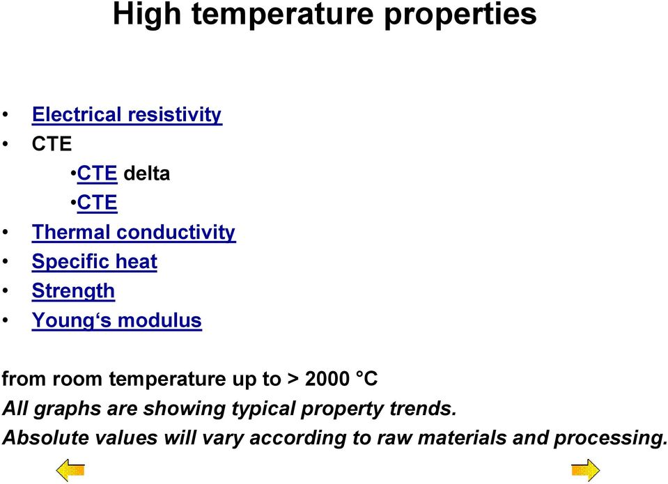 temperature up to > 2000 C All graphs are showing typical property
