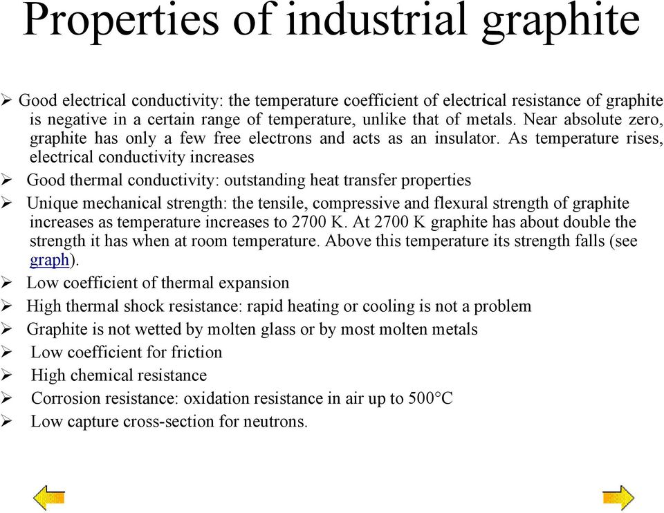 As temperature rises, electrical conductivity increases Good thermal conductivity: outstanding heat transfer properties Unique mechanical strength: the tensile, compressive and flexural strength of
