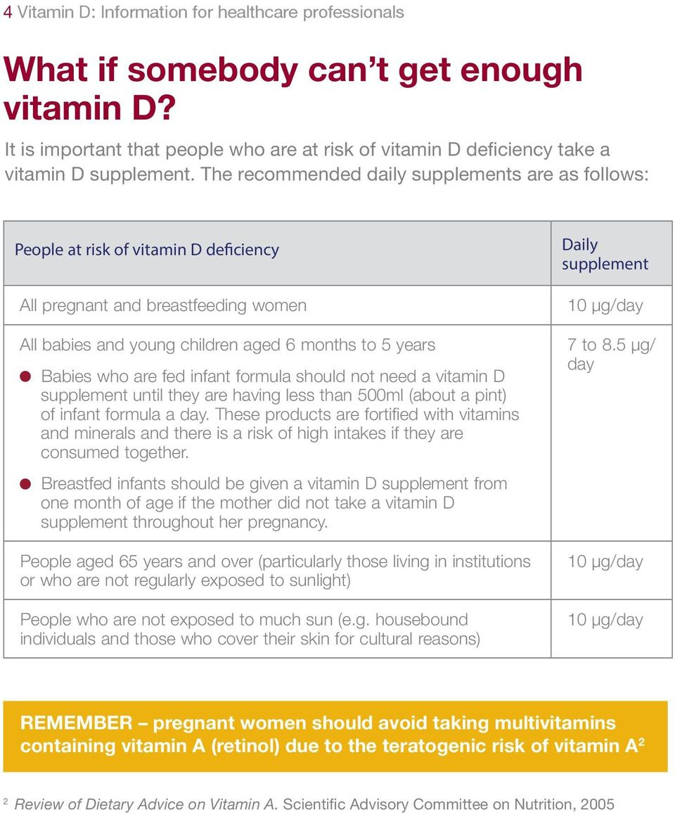 infant formula should not need a vitamin D supplement until they are having less than 500ml (about a pint) of infant formula a day.