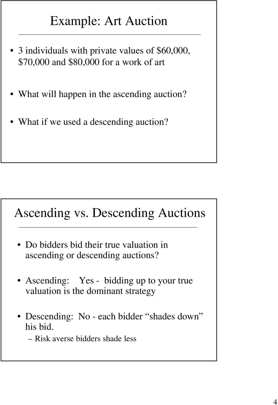Descending Auctions Do bidders bid their true valuation in ascending or descending auctions?