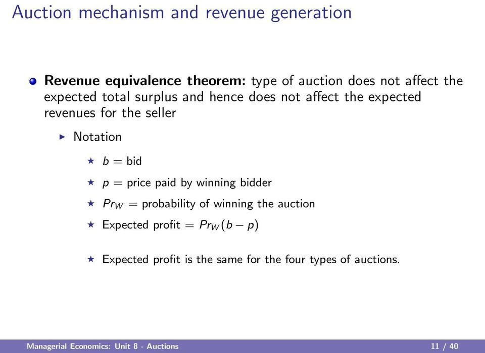bid p = price paid by winning bidder Pr W = probability of winning the auction Expected profit = Pr W (b