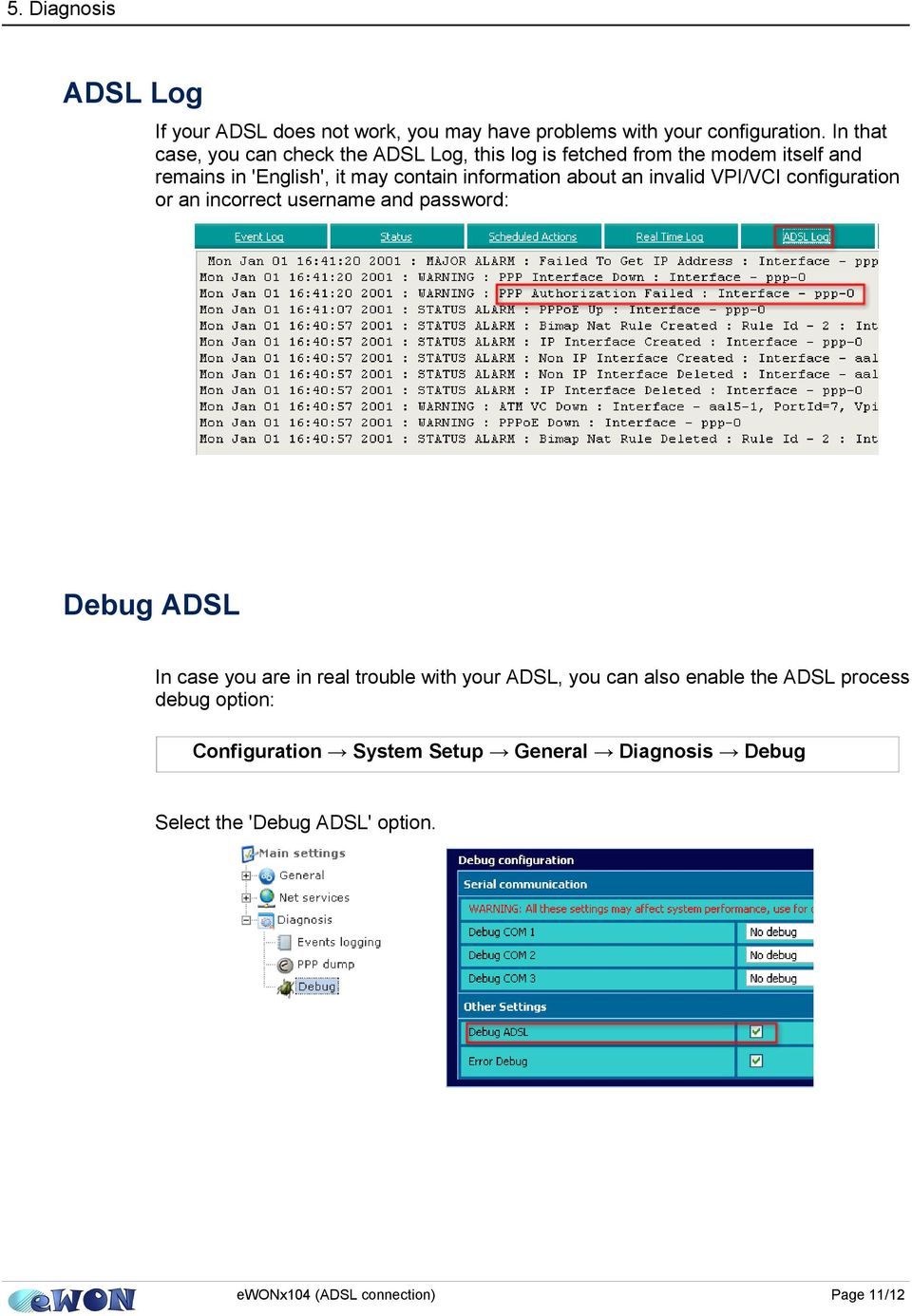 information about an invalid VPI/VCI configuration or an incorrect username and password: Debug ADSL In case you are in real trouble
