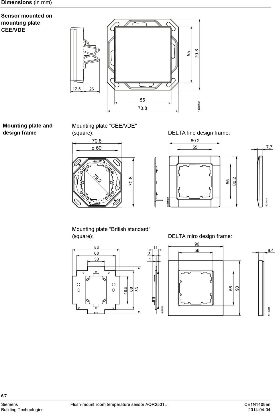 "8 1408M02 Mounting plate and design frame Mounting plate ""CEE/VDE"""