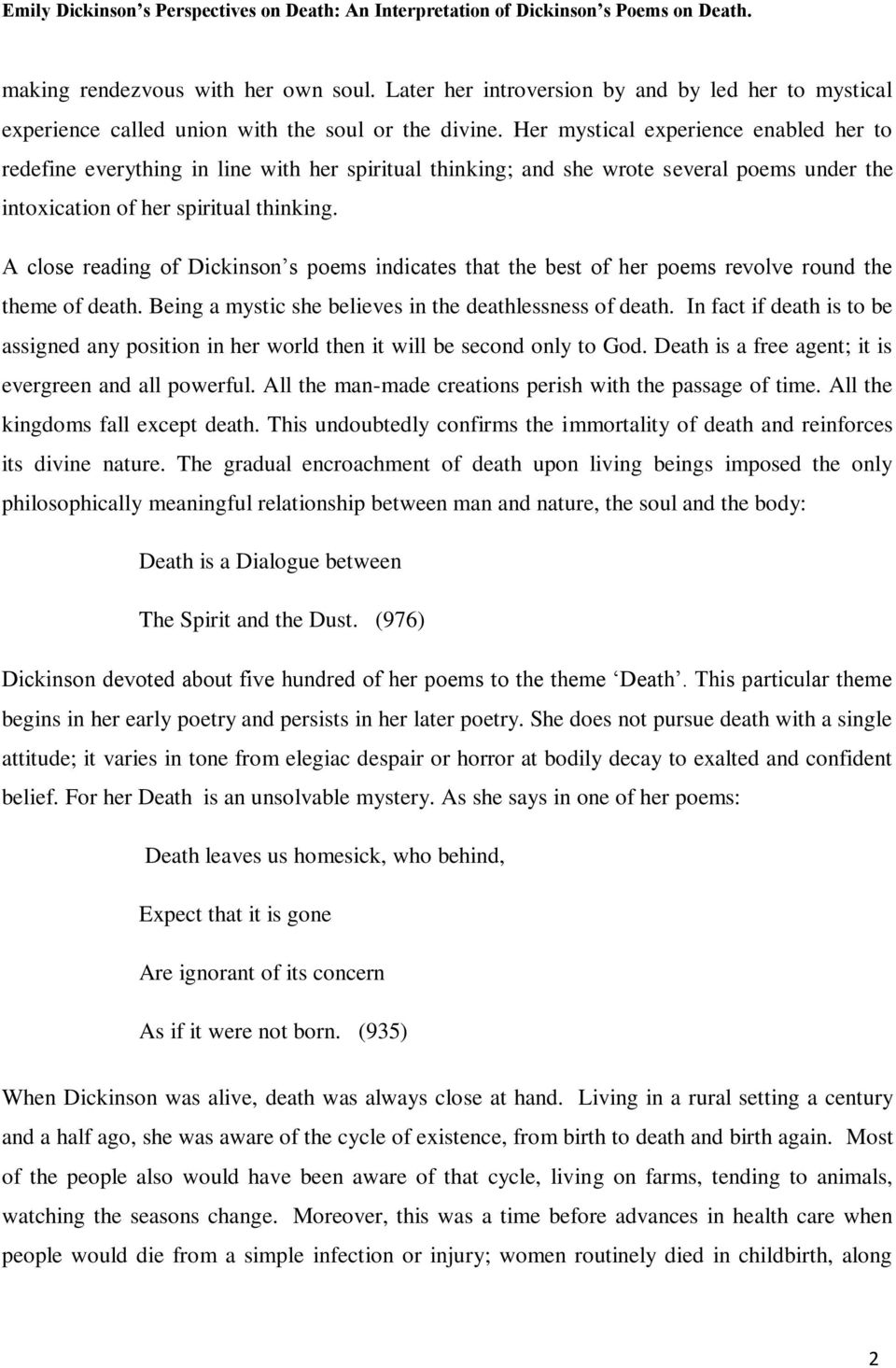 Emily Dickinson s Perspectives on Death: An Interpretation of