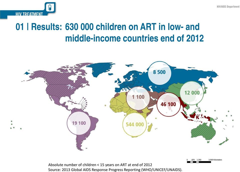 children < 15 years on ART at end of 2012 Source: 2013