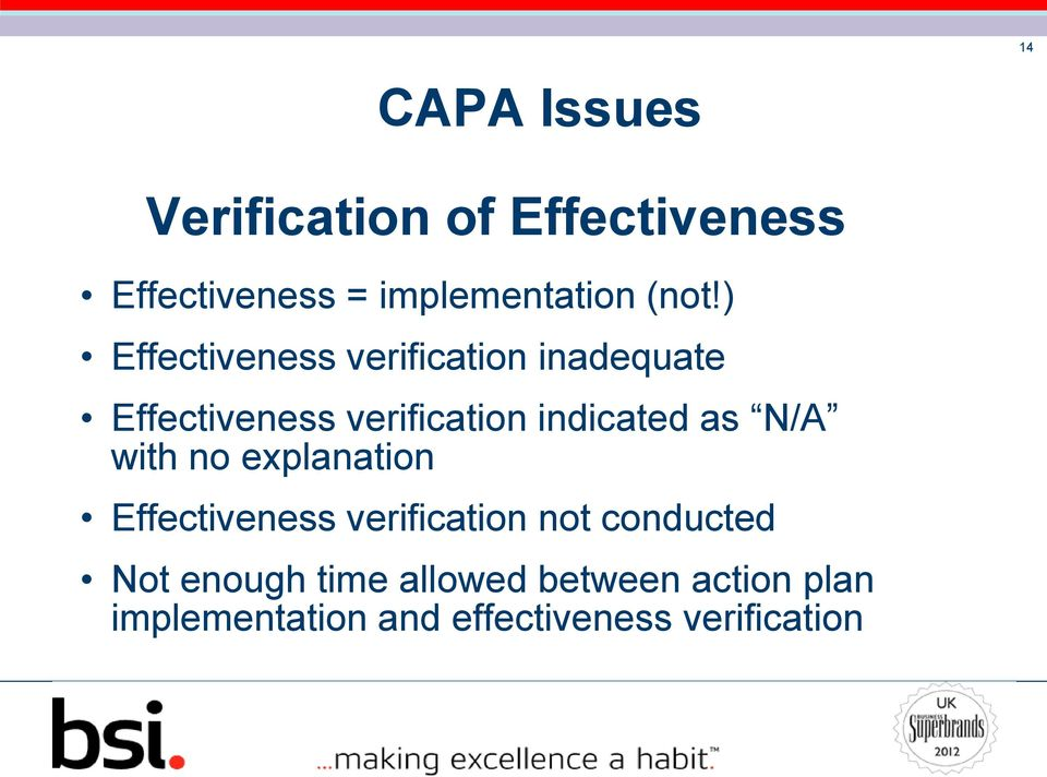 indicated as N/A with no explanation Effectiveness verification not conducted