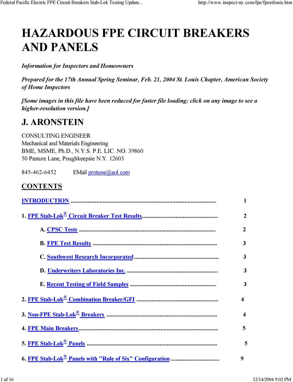 Hazardous Fpe Circuit Breakers And Panels Pdf Cpsc Aluminum Wiring Aronstein Consulting Engineer Mechanical Materials Engineering Bme Msme Phd