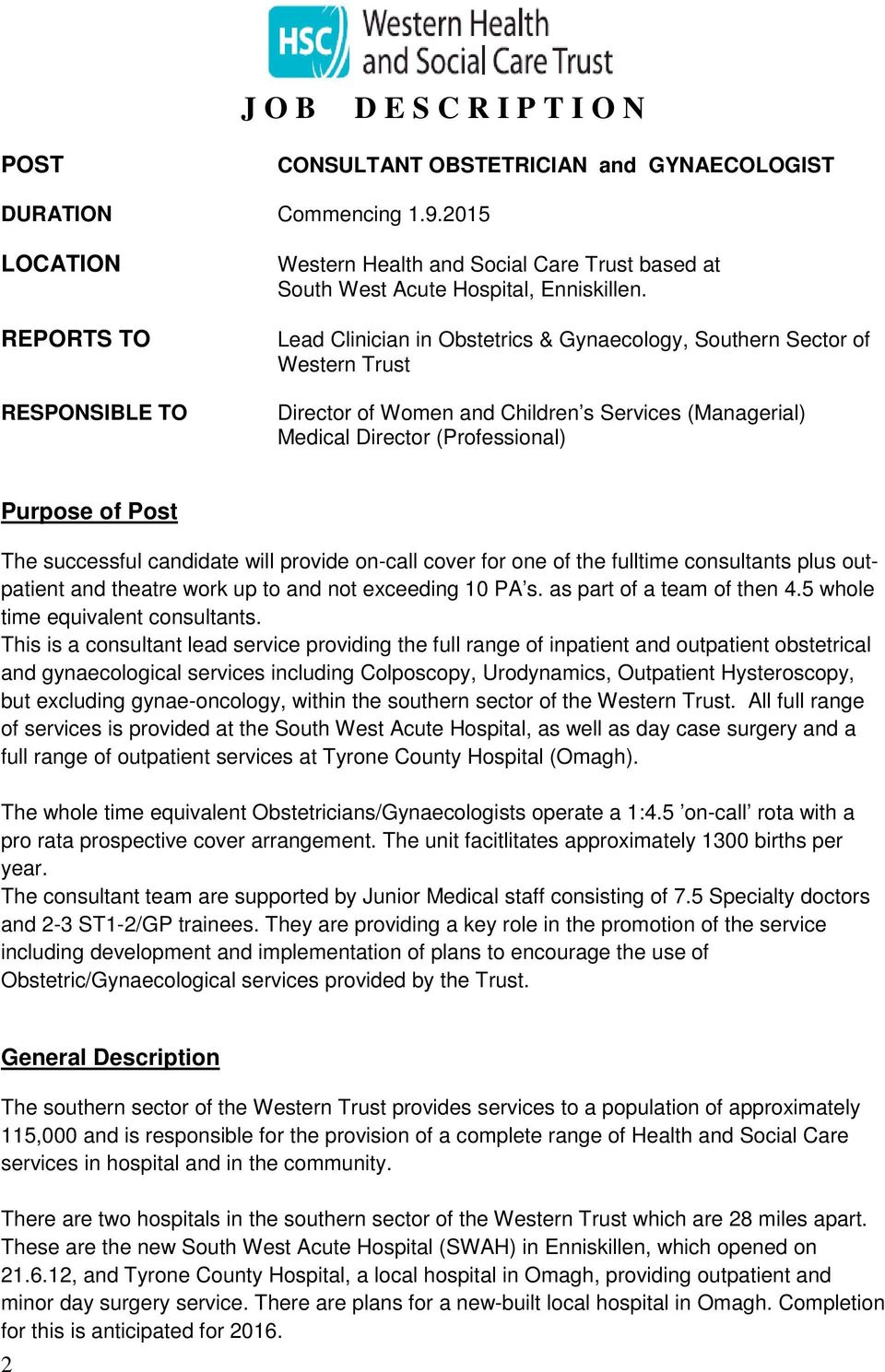 Lead Clinician In Obstetrics U0026 Gynaecology, Southern Sector Of Western  Trust Director Of Women And
