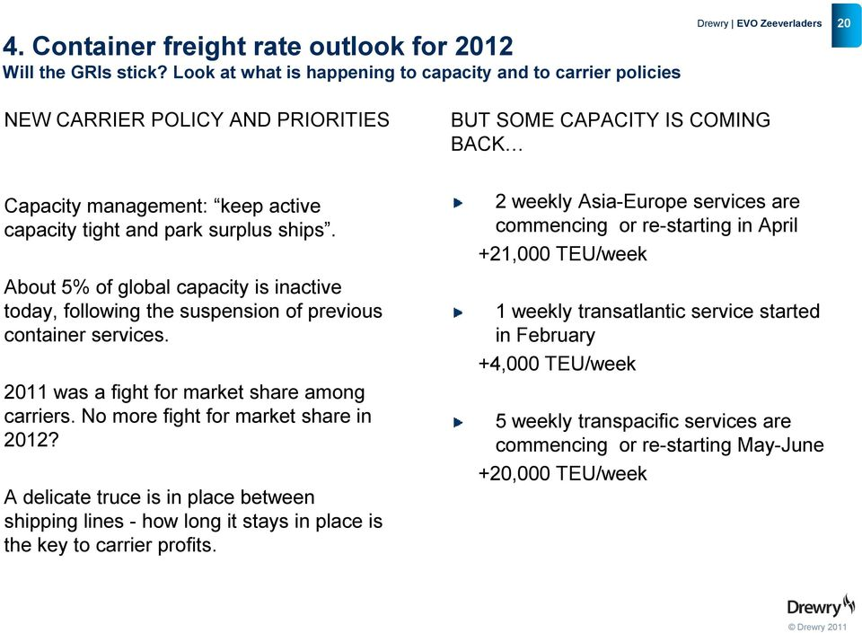 ships. About 5% of global capacity is inactive today, following the suspension of previous container services. 2011 was a fight for market share among carriers. No more fight for market share in 2012?