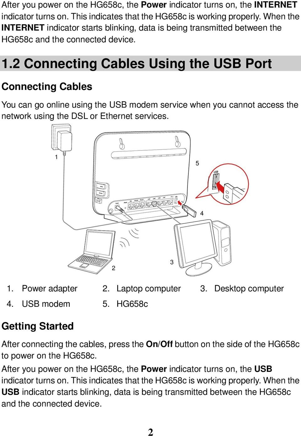 2 Connecting Cables Using the USB Port Connecting Cables You can go online using the USB modem service when you cannot access the network using the DSL or Ethernet services. 1 5 4 2 3 1.