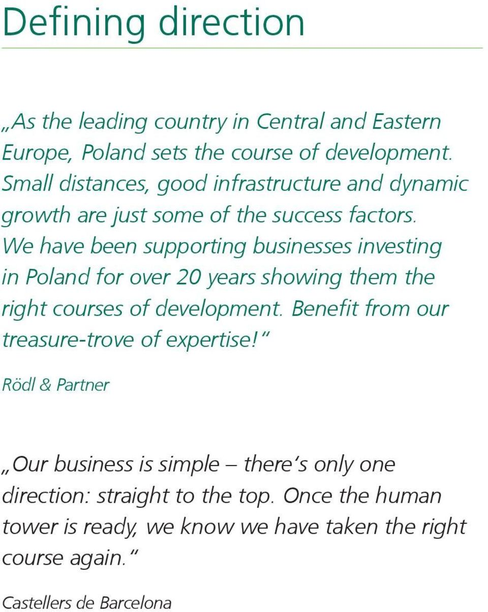 We have been supporting businesses investing in Poland for over 20 years showing them the right courses of development.